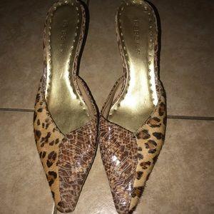BCB Girls Women's Brown Leopard slip on heels